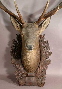 antique black forest carved wood deer head