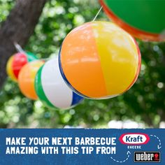 Beach balls aren't just for play. Hang these fun garlands around your backyard pool party.