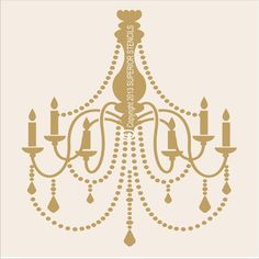 "Stencils French Chandelier Stencil  / LARGE 11""Tall x10"" Wide BEAUTIFUL pillow stencil Wall stencils"