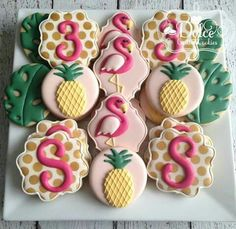 Like the shape of these flamingos and the idea of initials/numbers on plaque shaped cookies Flamingo Party, Flamingo Baby Shower, Flamingo Birthday, Shower Baby, Luau Party, Aloha Party, Deco Cupcake, Pineapple Cookies, Hawaiian Cookies