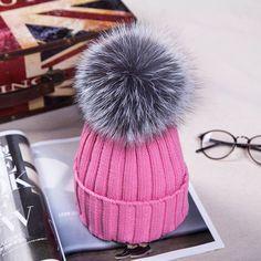 NEW Fashion Fox Fur Pom Pom Warm Cozy Crochet Knit Hat 15 Colors