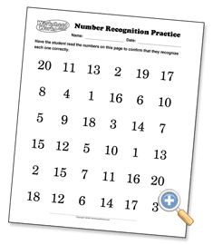 Number Recognition Sheets Preview for practicing at home with parents