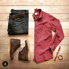 Outfit grid - Smart red checked shirt