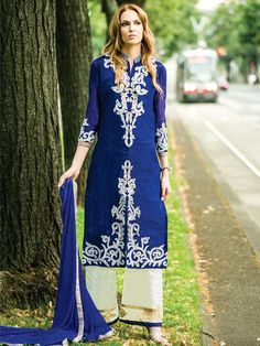Pleasing blue color #Georgette #Kameez with resham, zari thread work. Item Code: SLANA10006 http://www.bharatplaza.com/new-arrivals/palazzo-suits.html