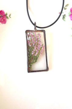 Jewelry. Flower jewelry. Heather. Lilac pendant. by AcoyaJewellery