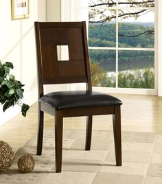 Furniture of America Planked Dark Walnut Dining Chair (Set of 2), Brown