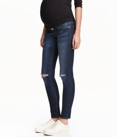 this color/style of maternity jeans - except not an ankle fit, would want full length! MAMA Skinny Ripped Jeans   Product Detail   H&M