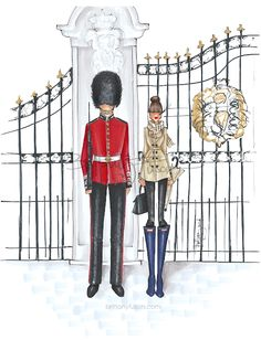 Buckingham Palace | the Crown | the Queen of England | Prince Harry | Meghan Markle | Suits | the Royal Wedding | fashion illustration | London | Burberry | Hunter boots | Brittany Fuson