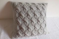 Hand Knit Pillow Case Light Gray, Summer Throw Pillow, Cable Knit Pillow, Lace Knitted Pillow Cover, 16X16 Knit Cushion Cover by Adorablewares on Etsy