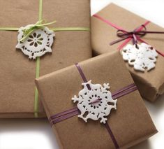 DIY wrapping paper...like the snowflake idea.