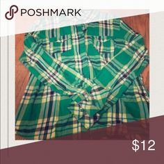 Aeropostale green and yellow plaid shirt. Good condition. Only worn once. Aeropostale Tops Button Down Shirts