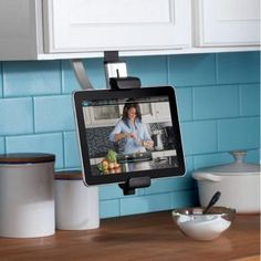 This actually makes me kinda want a tablet...so much better than trying to follow recipes on my little phone that keeps getting lost in the chaos on the counter!