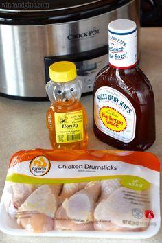 Just three ingredients and a crock pot for this awesome dinner! Bbq Chicken Legs Crockpot, Barbecue Chicken, Crockpot Meals, Cola Chicken, Crockpot Recipes Cheap, Crockpot Dishes, Orange Chicken, Chicken Curry, Crock Pot Drumsticks