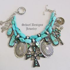 Schaef Designs Zuni Navajo blue turquoise & sterling silver cross concho charms bracelet | online upscale Native American & southwestern jewelry | Schaef Designs Southwestern turquoise Jewelry | New Mexico