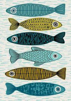 Sechs Fische limitierte Auflage Giclee print von EloiseRenouf