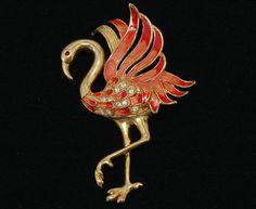 Fabulous 80's rhinestone enamel and gold tone flamingo statement brooch, cool kitsch orange enamel, clear & red rhinestones figural bird pin by BetseysBeauties on Etsy