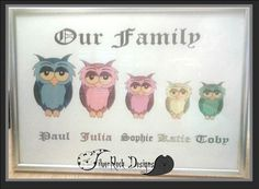 Our Family - Animal Characters Personalised Picture with many animals images available. Printed on size paper. Without Frame. Please ask about any other animal characters. Rock Design, Unique Jewelry, Frame, Handmade Gifts, Silver, Pictures, Animals, Etsy, Vintage