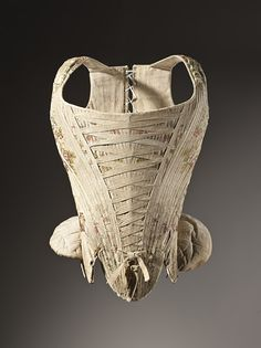 France Woman's Corset, circa 1730-1740 Silk plain weave with supplementary weft-float patterning, Center back length: 16 ½ in. (41.91 cm)