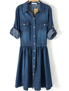 Blue Lapel Pockets Buttons Denim Dress - Sheinside.com
