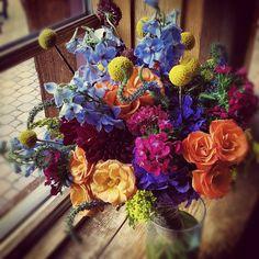 Kelli's Bouquet // Delphinium, Crespedia, Dianthus, Dahlias, Veronica and Scabiosa.  #Breckenridge #wedding #flowers #florist #Colorado #sumco #summitcounty #bouquet #bride #rockymountains