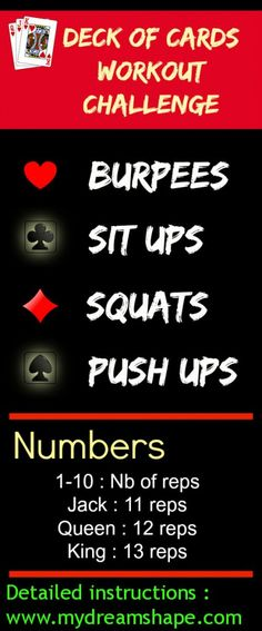 Deck Of Cards Workout Challenge - Awesome workout idea!! Everyone has a deck of cards laying around.