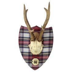 Check out this item at One Kings Lane! Deer Antlers w/ Tartan Shield