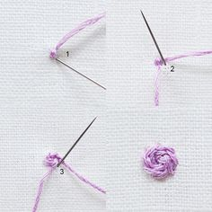 Rose Stitch Start with three small parallel stitches to form the centre. Use stem stitch around the centre, working in circles and increasing the stitch length until the rose reaches the desired size. Experiment using materials such as yarn or ribbon.