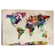 Equally at home in an artful collage or on its own as an eye-catching focal point, this lovely canvas features a watercolor-inspired world map print.
