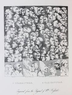 Original William Hogarth Antique Print. Characters and Caricaturas (Caricatures)