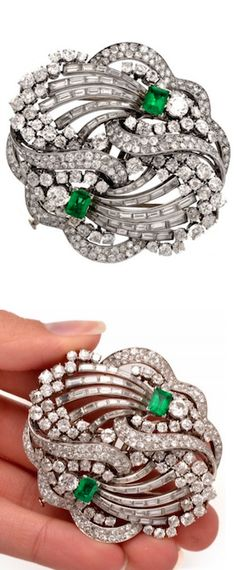*1930s Boucheron Paris Emerald Diamond Platinum Double Clip Brooch, Circa 1930.