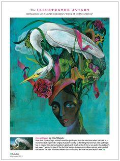 The Illustrated Aviary, from Audubon magazine. Art director: Kevin Fisher, illustrator: Olaf Hajek. See more pages of the Illustrated Aviary here: http://www.robertnewman.com/audubon-magazines-illustrated-aviary/