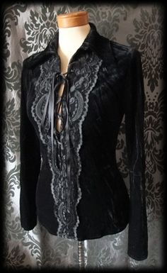 Gothic Black Crushed Velvet Lace Up IMMORTAL Lace Panel Shirt 8 10 Victorian - £29.00
