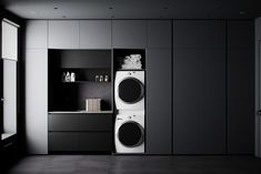 Country House Design, Home Gym Design, White Washing Machines, Walnut Shelves, Kitchen Wall Cabinets, Modern Laundry Rooms, Pendant Lighting Bedroom, Black Interior Design, Luxury Furniture Brands