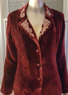 Bob Mackie wearable art velvet beaded blazer jacket never worn size small   #BOBMACKIEWERABLEART #BLAZER