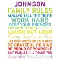 $63.95 Personalized Family Rules Canvas Giclee Print