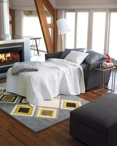 julius slate twin sleeper sofa in sofas | CB2