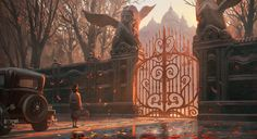 Entrance of the Manor, Quentin Regnes on ArtStation at https://www.artstation.com/artwork/WblQE