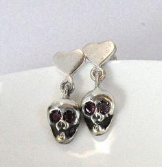 valentine's day skull love earrings with tourmaline sterling silver by nihanatakan, $50.00