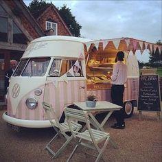 Vintage Ice Cream Van aka 'Florence' from Polly's Parlour - Food Truck - Helados Food Trucks, Kombi Food Truck, Ice Truck, Kombi Trailer, Food Trailer, Trailers, Food Truck Business, Ice Cream Cart, Ice Cream Parlor