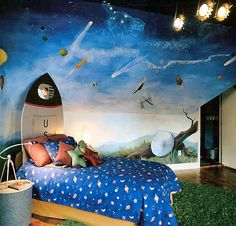 Crazy cool boys room. Check out that painted mural on the wall