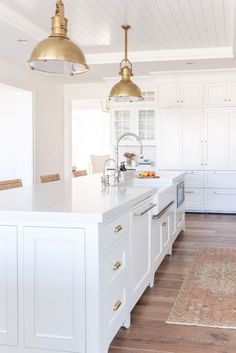 A classic white kitchen with shiplap ceiling and brass pendants | Kate Knowles Home Taupe Kitchen, White Marble Kitchen, Classic White Kitchen, White Kitchen Decor, All White Kitchen, Lisa's Kitchen, Bathroom Interior, Kitchen Interior, White Kitchen Inspiration