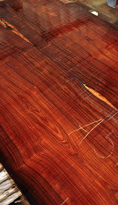 Cocobolo- A vibrant wood Reminds me of a bad thing I did as a kid. I used a straight pin and carved in my grandmas good dining room table. OUCH