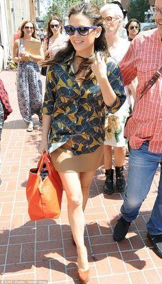 Rachel Bilson wearing Ray-Ban Wayfarer Sunglasses Blue and Marc Jacobs Disco Panther Print Silk Shirt.