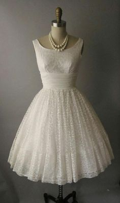 I heart this - Vintage 50s Lace Chiffon Tea Length Wedding Dress.