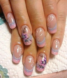 Dress up your nails in the most stylish way this spring with overthetop flower nail art designs. Try out different patterns of floral nails in peppy bright and neon hues. Pink Nail Art, Floral Nail Art, Purple Nails, Nail Designs 2017, Nail Art Designs, Nails Design, Fingernail Designs, Cute Simple Nails, Cute Nails