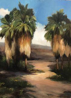 "Palm Path, 40""x30"" oil on wood"