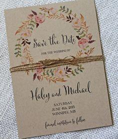 Rustikale Boho Chic Hochzeit Save the Date speichern Sie die