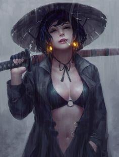 Female Samurai by Emre Gierszal illuminated earrings Fantasy Women, Fantasy Girl, Anime Kunst, Anime Art, Manga Anime, Geisha, Girl Pose, Ronin Samurai, L5r