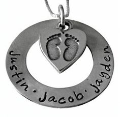 Hand Stamped Jewelry - Personalized Washer Necklace with Birthstones