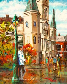 St Louis Cathedral, Jazz Art on Jackson Square, New Orleans French Quarter. New Orleans Art, New Orleans Painting - 'Cathedral Jazz' Jazz Painting, Painting Prints, Fine Art Prints, St Louis Cathedral, New Orleans Art, New Orleans French Quarter, Jackson Square, Jazz Art, New Art